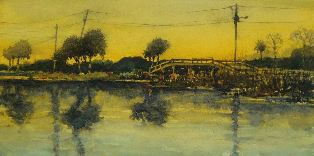 Bridge at Cypremort Point, 2019 Jeff Williams Watercolour, 17.8 x 35.6 cm