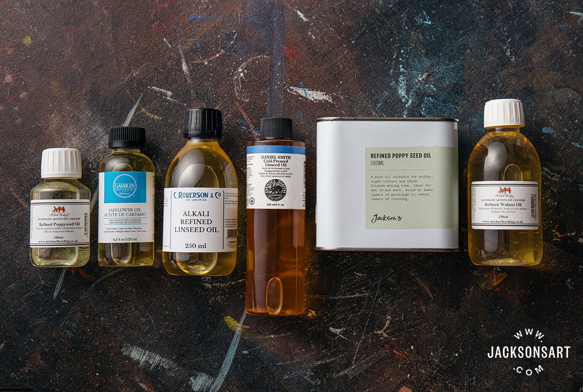 A variety of drying oils for oil painting mediums