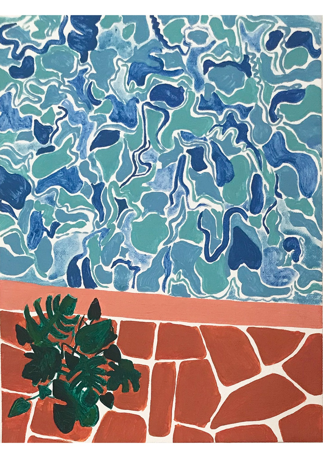 Pool Patterns Kate Mary Oil pastel on paper, 29.7 x 21 cm