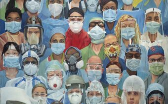 PPE Workers, 2020 Darren Butcher Oil on canvas, 80 x 100 cm