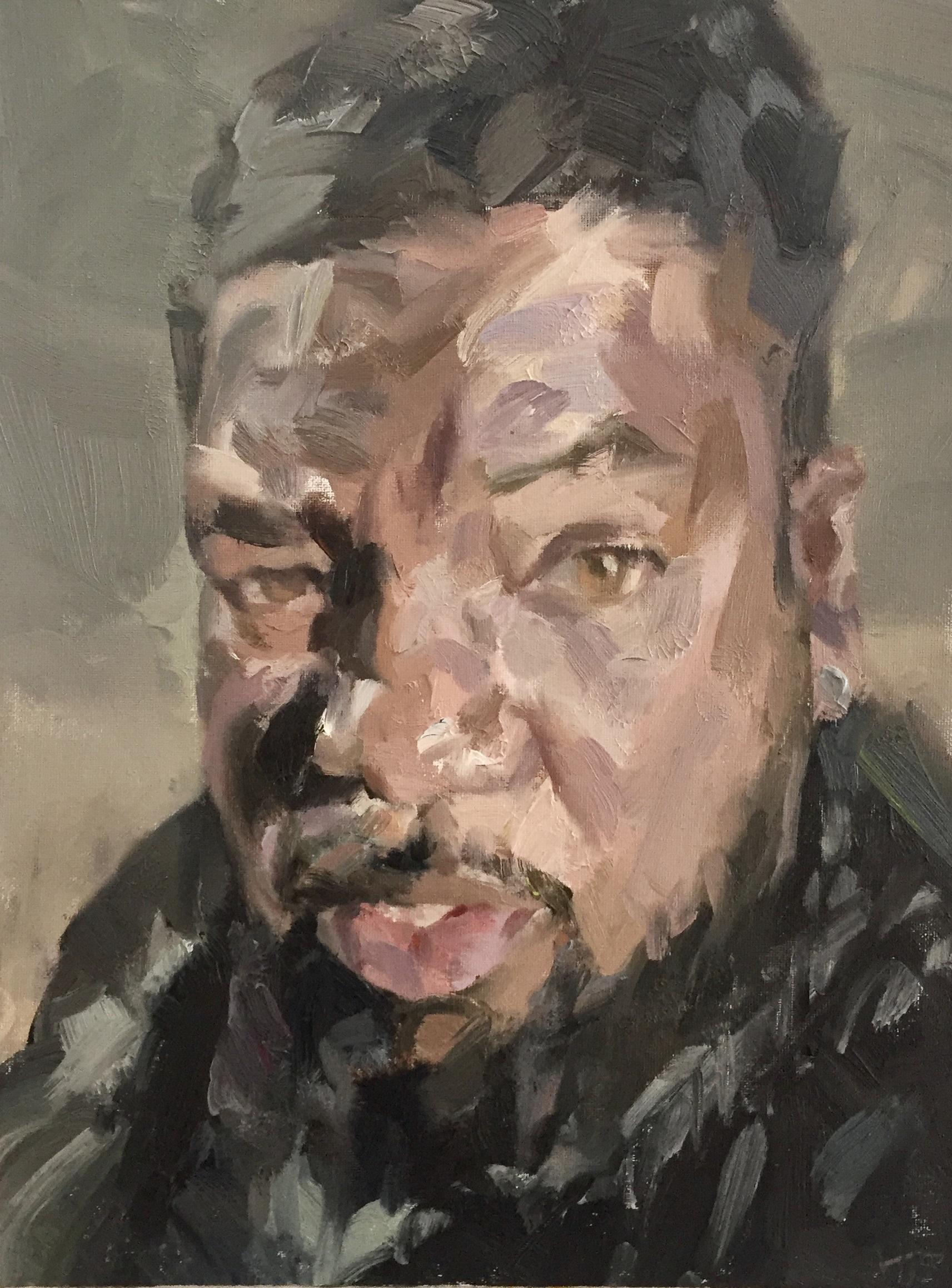 Karl Ellis, NHS Hero, 2020 Tim Benson Oil on canvas board, 40.5 x 30.5 cm
