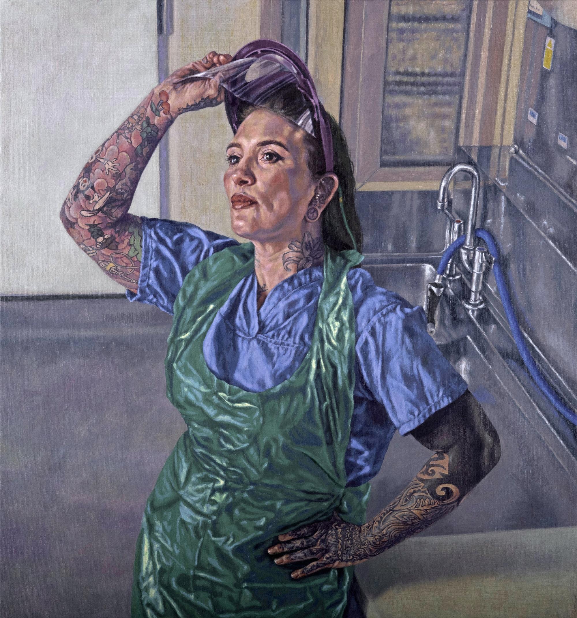 Katie Tomkins - Mortuary & Post Mortem Services Manager at West Hertfordshire NHS Trust, Roxana Halls Oil on linen, 75 x 70cm