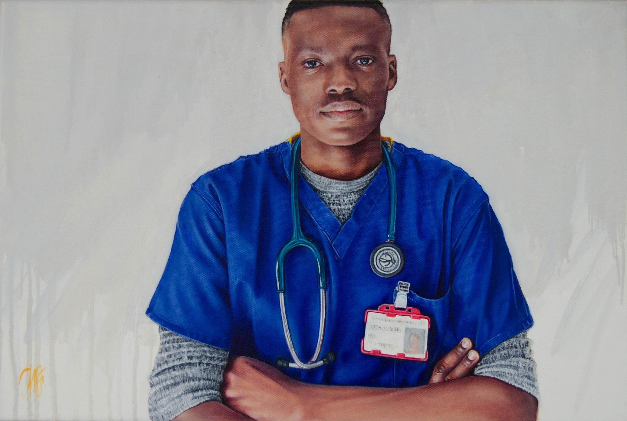 Dr. Mayowa Oyebolu, 2020 Trudy Good Oil on canvas, 30 x 60cm