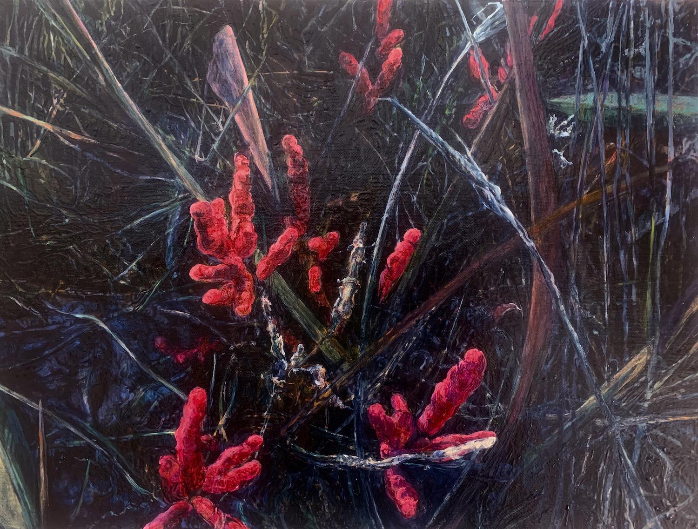 Dark Marsh Winter Samphire. Judith Tucker. Jackson's Painting Prize.