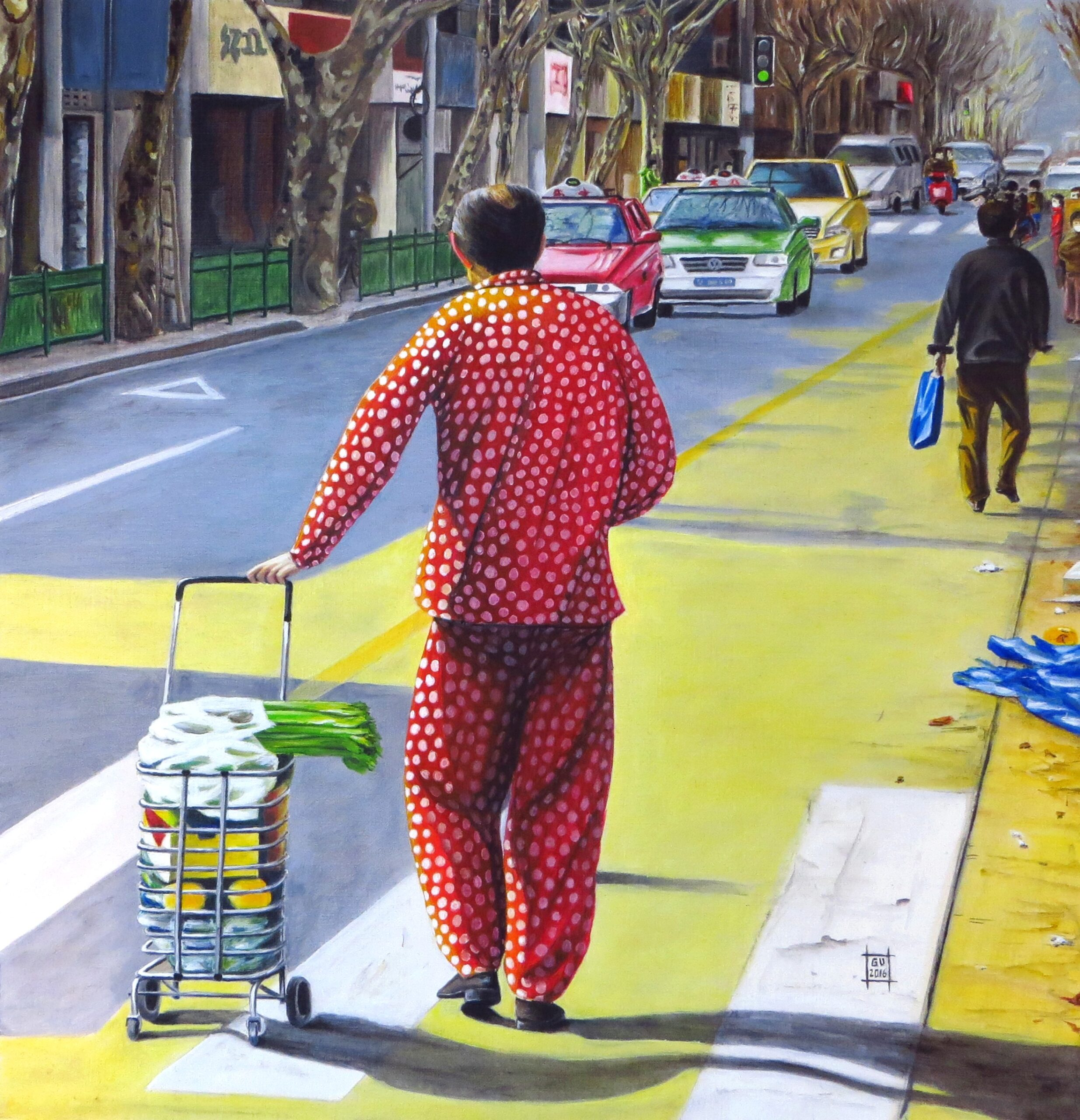 Typical Shanghai sight PJ in the street. Guilaine Veneziani. Jackson's Painting Prize.