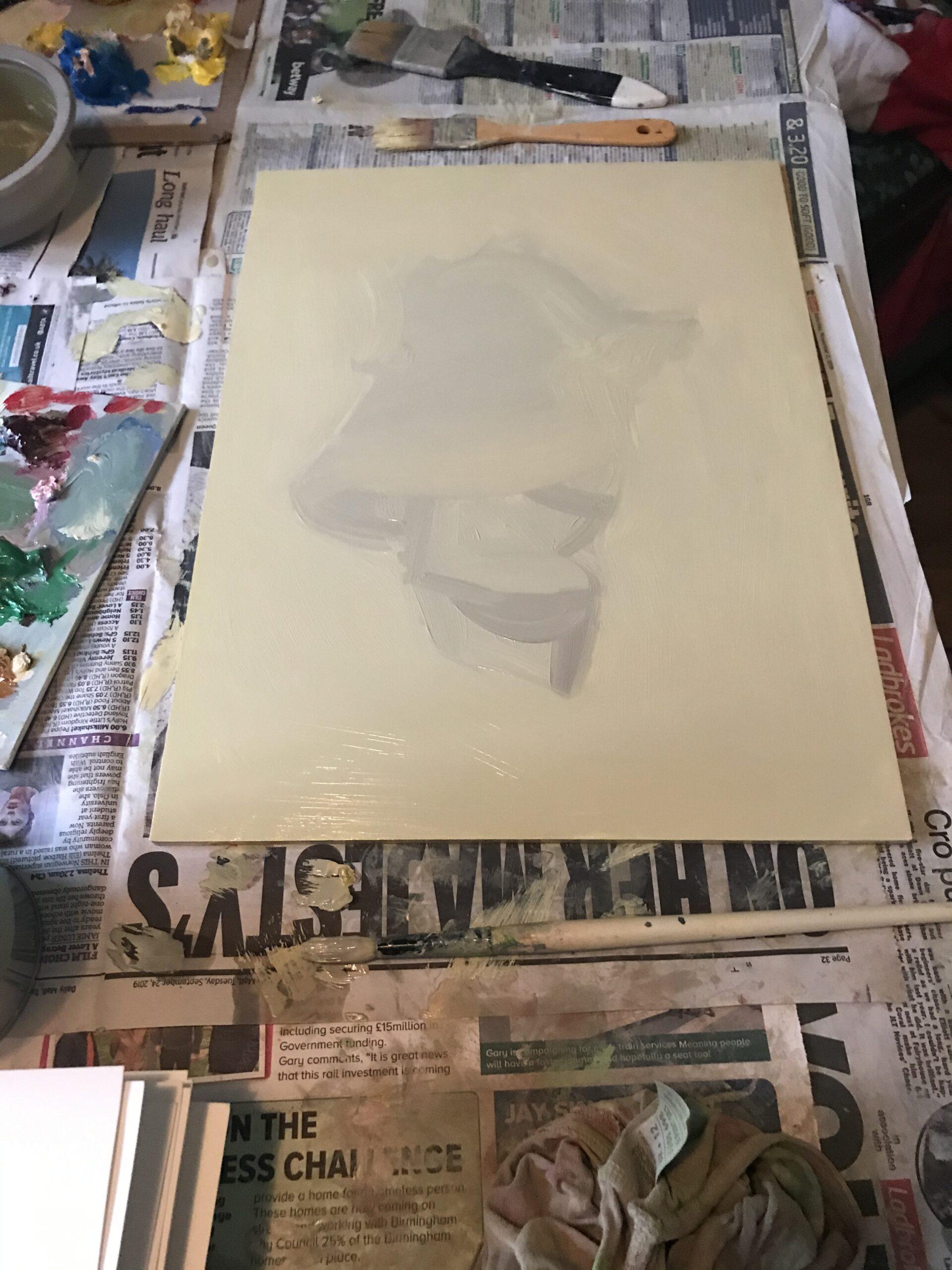 Angelina Davis preparatory painting