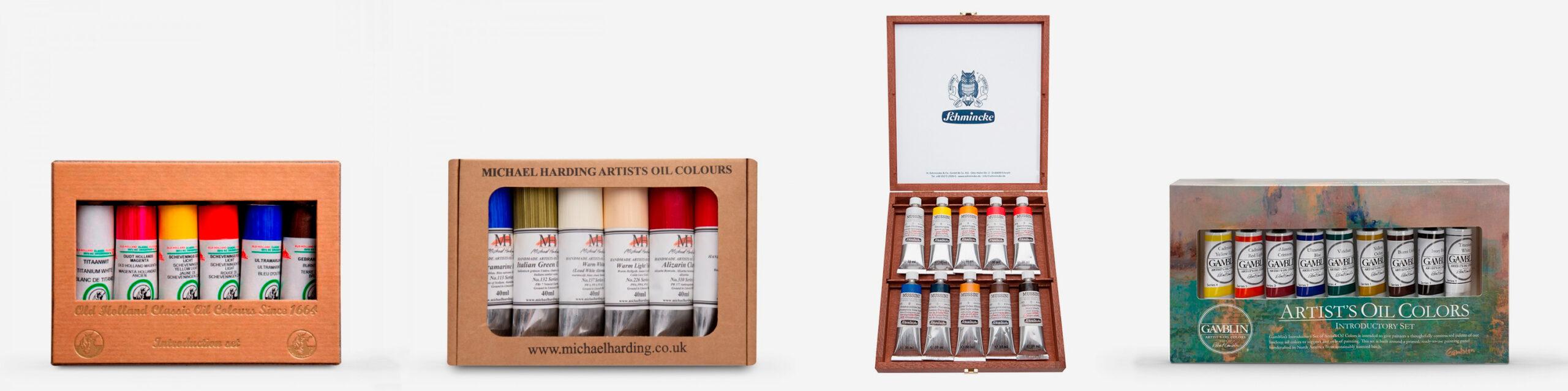 Old Holland Classic Oils Introductory set, Michael Harding Modern Master set, Schmincke Mussini Wood Box set, Gamblin Artist Oils Introductory Set