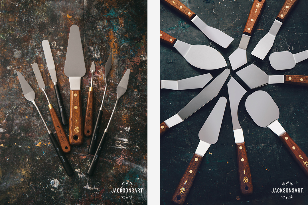 L-R: A variety of Jackson's and RGM Palette knives, RGM Extra Large Palette Knives