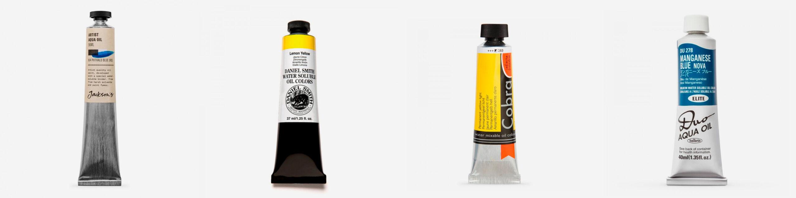 L-R: Jackson's Aqua Oils, Daniel Smith Watersoluble Oil Paint, Cobra Water Mixable Oil Paint, Holbein Duo Aqua Water Mixable Oil Paint