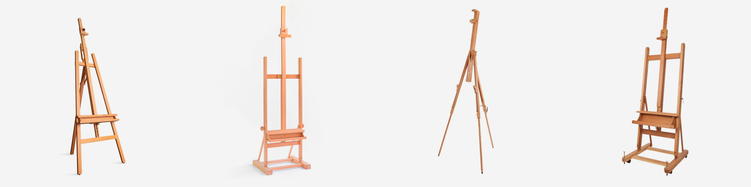 Top Image: A selection of Jackson's easels L-R: Jackson's A-Frame Studio Easel, Cappelletto Medium Studio Easel, Mabef Tivoli Field Easel, Mabef Roma Studio Easel