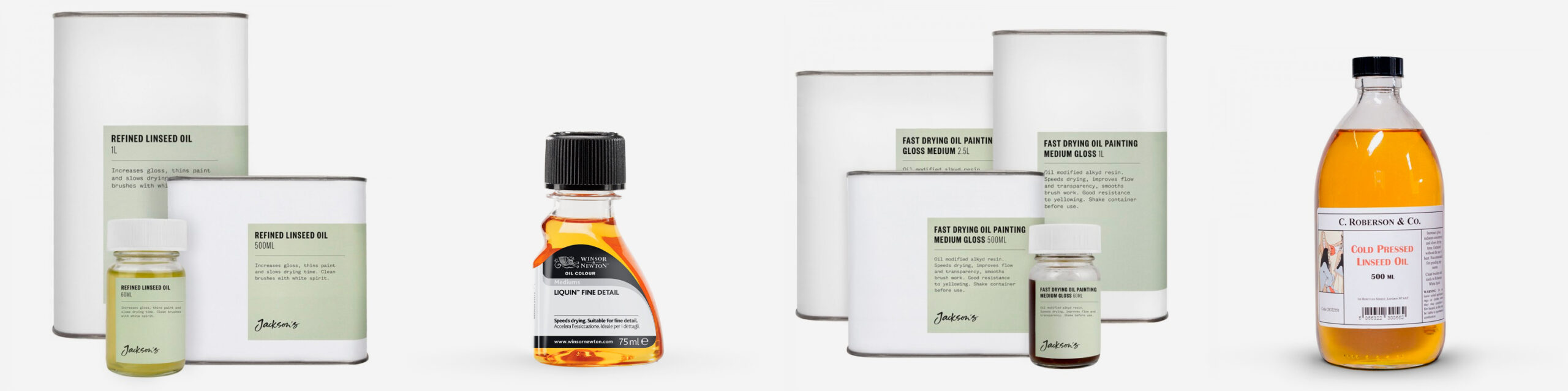 Top Image: Jackson's Refined Linseed Oil and Fast Drying Oil Painting Medium L-R: Jackson's Refined Linseed Oil, Winsor and Newton Liquin Fine Detail, Jackson's Fast Drying Oil Painting Medium, C. Roberson & Co. Cold Pressed Linseed Oil