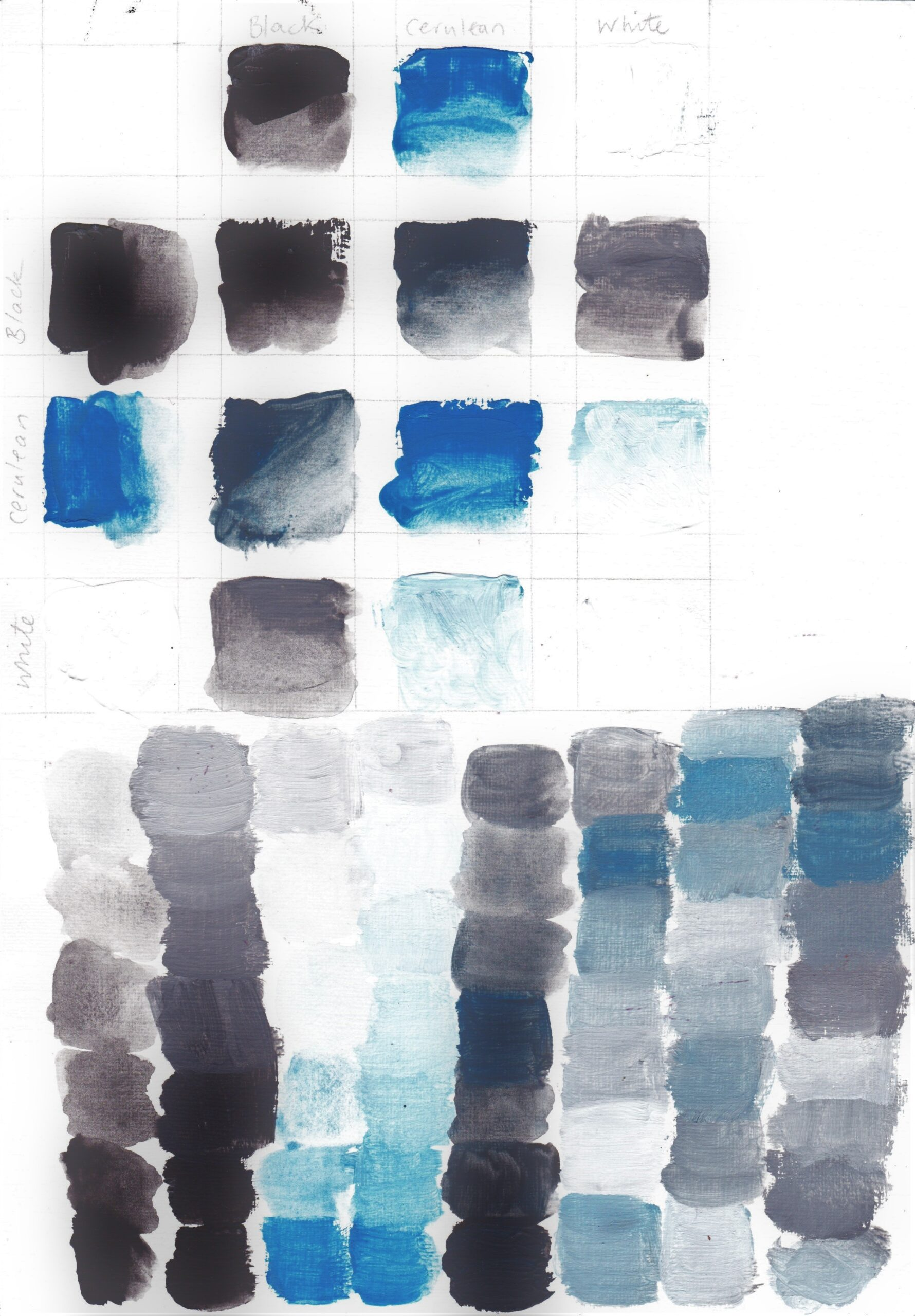 Colour mixes using Cerulean Blue, Black and White