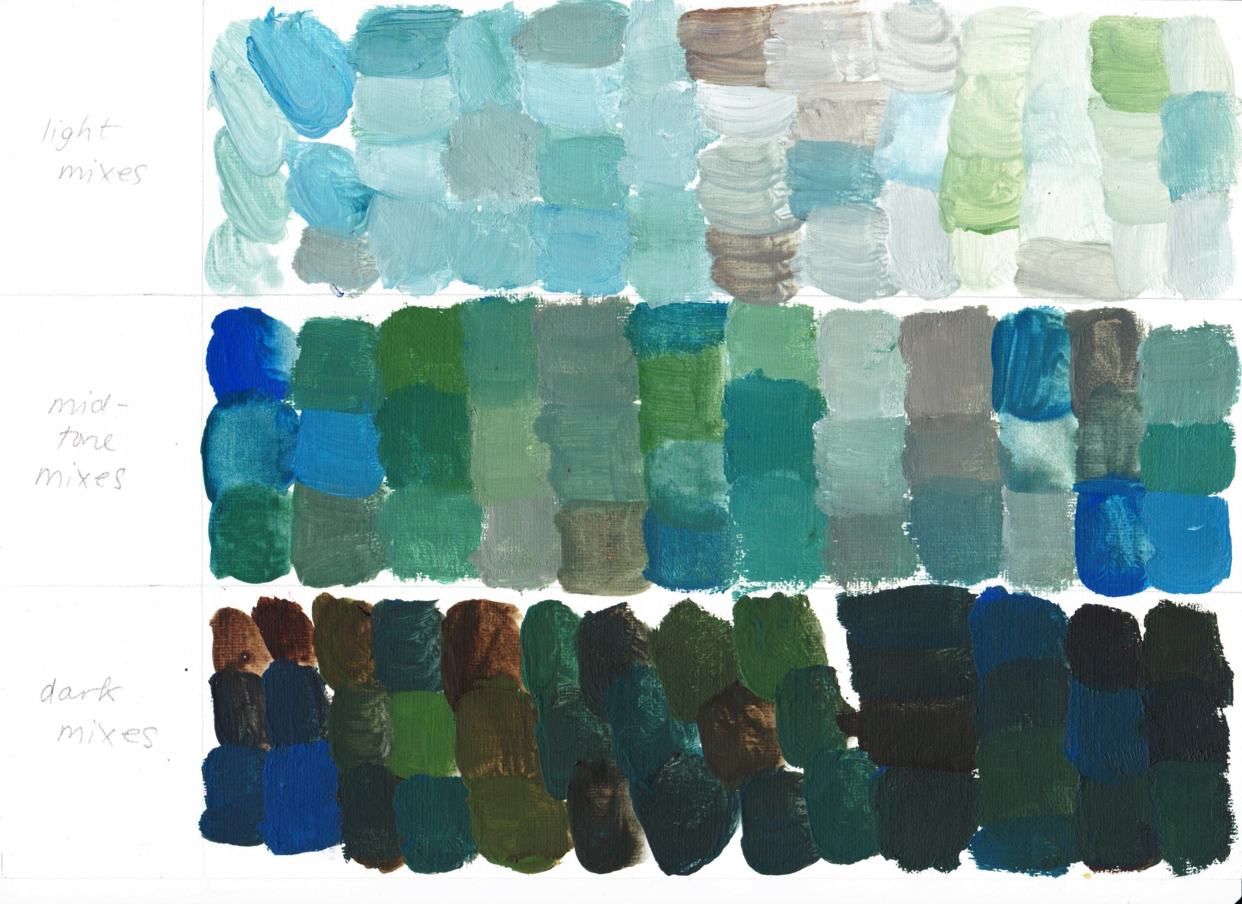 Light, mid-tone and dark colour mixes made with Oxide of Chromium, Cobalt Blue Hue, Raw Umber and White