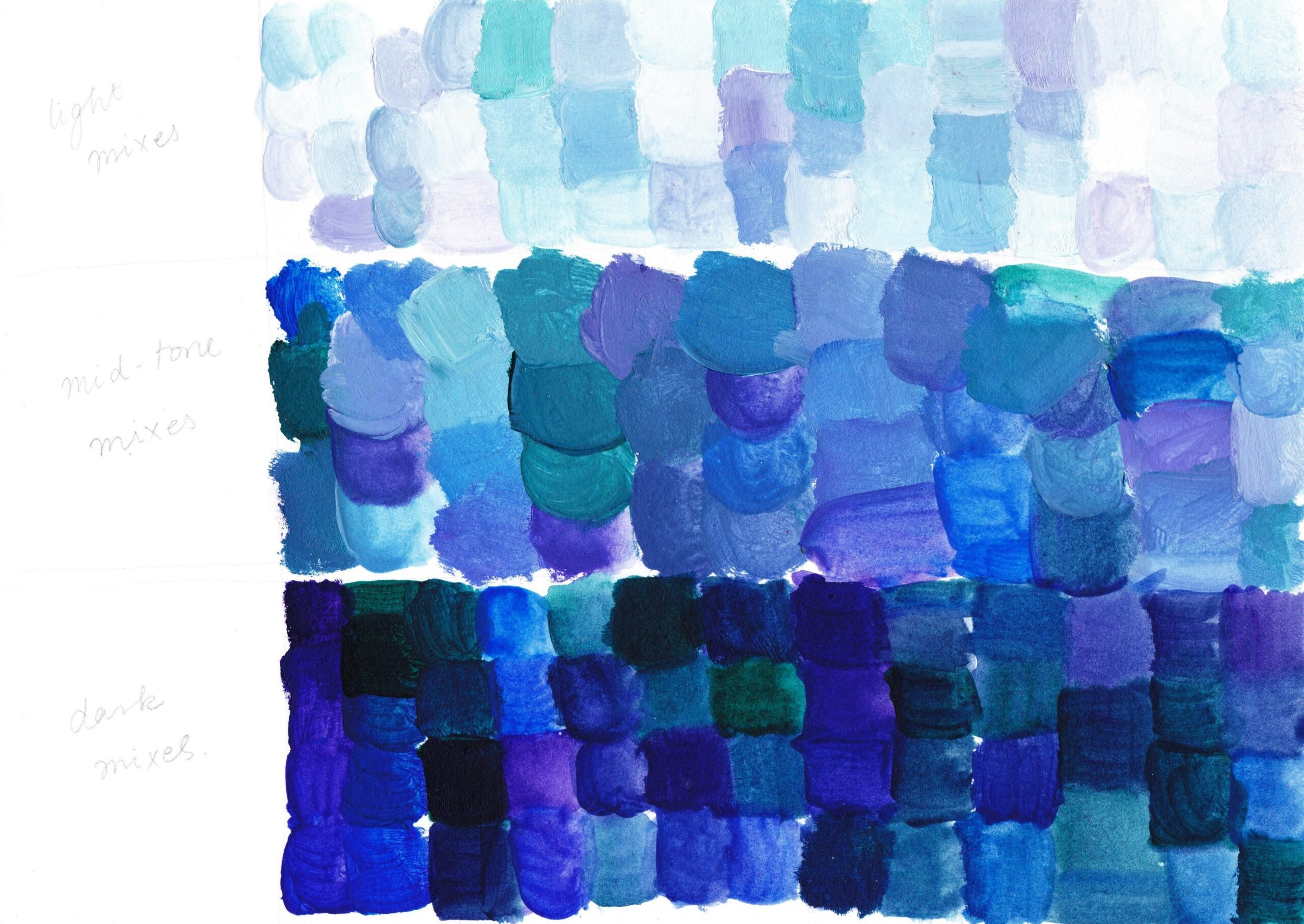 Light, mid-tone and dark colour mixes made with Ultramarine Violet, Cobalt Blue Genuine, Hooker's Green and White