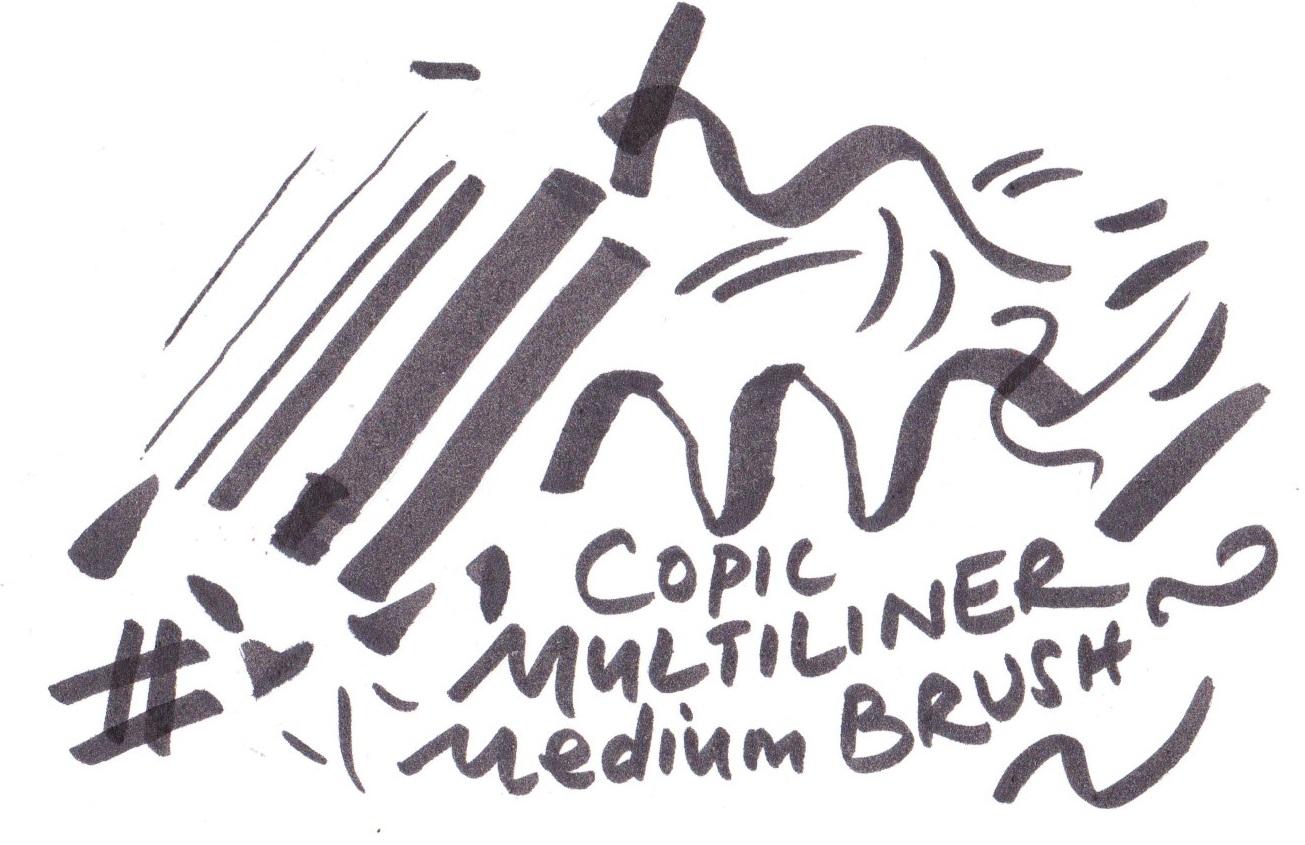 Copic Multiliner Medium Brush on Bristol board