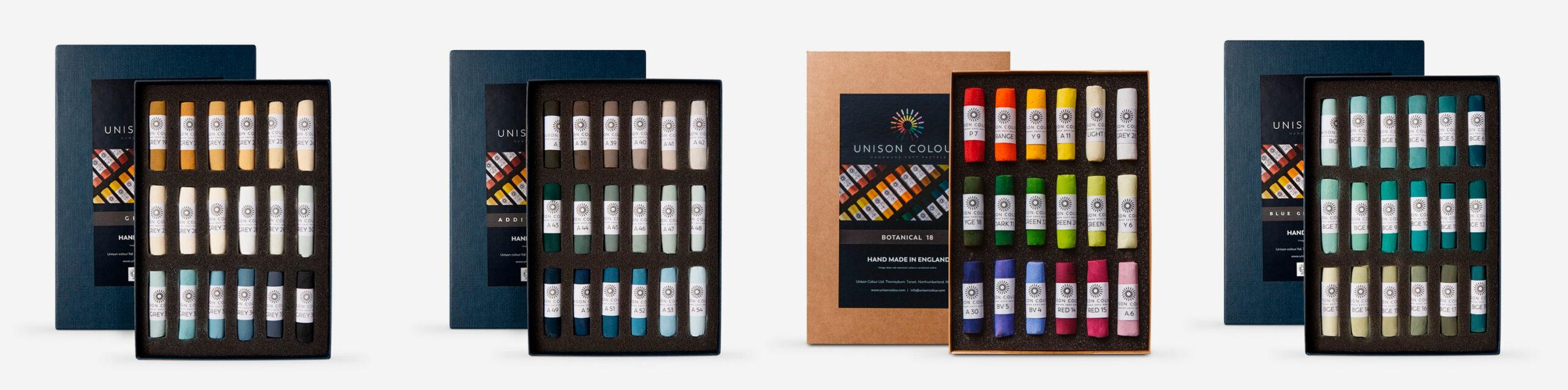 L-R: Unison Soft Pastel set of 18 Grey 19 - 36, set of 18 Additional 37 - 54, set of 18 Botanical, set of 18 Blue Green Earth