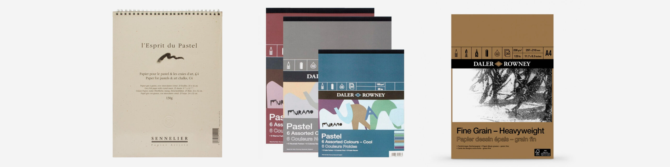 L-R: Sennelier Soft Pastel pad 32 x 24 cm, assorted Daler Rowney Murano Pastel pads, Daler Rowney Fine Grain Heavyweight cartridge pad A4