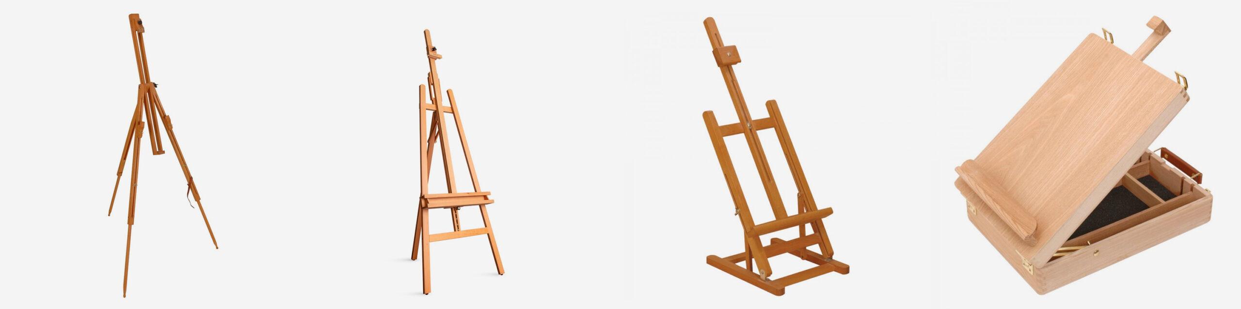 L-R: Jackson's Small Sketching easel, Jackson's A Frame studio easel, Jackson's H Frame Table easel, Jackson's Small Box easel