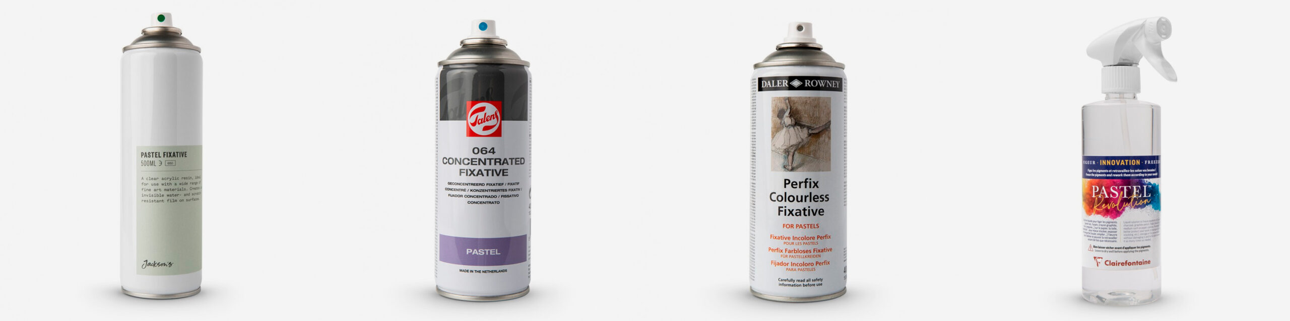 L-R: Jackson's Pastel Fixative 500ml, Royal Talens Concentrated Fixative 400ml, Daler Rowney Perfix Colourless fixative 400ml, Clairefontaine Pastel Revolution Pastel Freezer 500ml