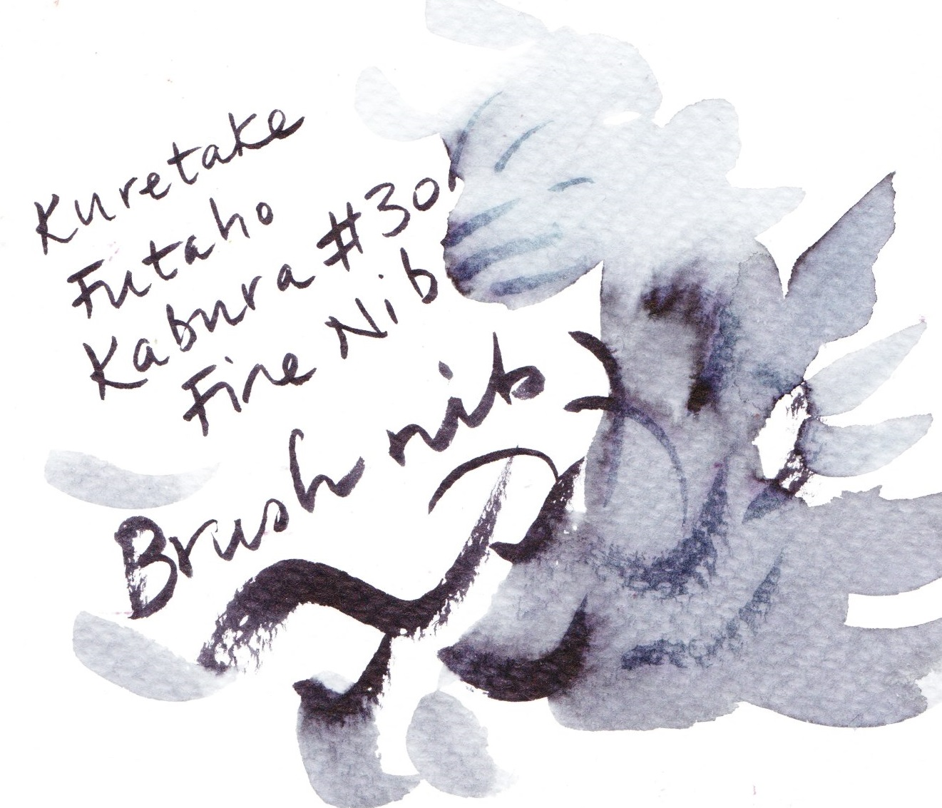 Kuretake Futaho Kabura 'No.30' Fude Pen diluted on cold pressed paper