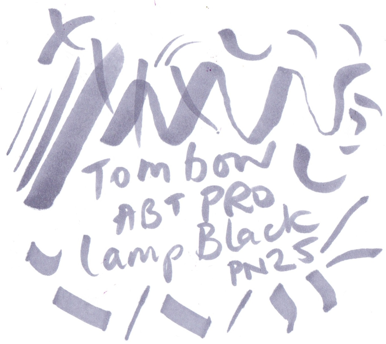 Tombow ABT Pro Alcohol Based Marker Pen PN25 Lamp Black on Bristol board