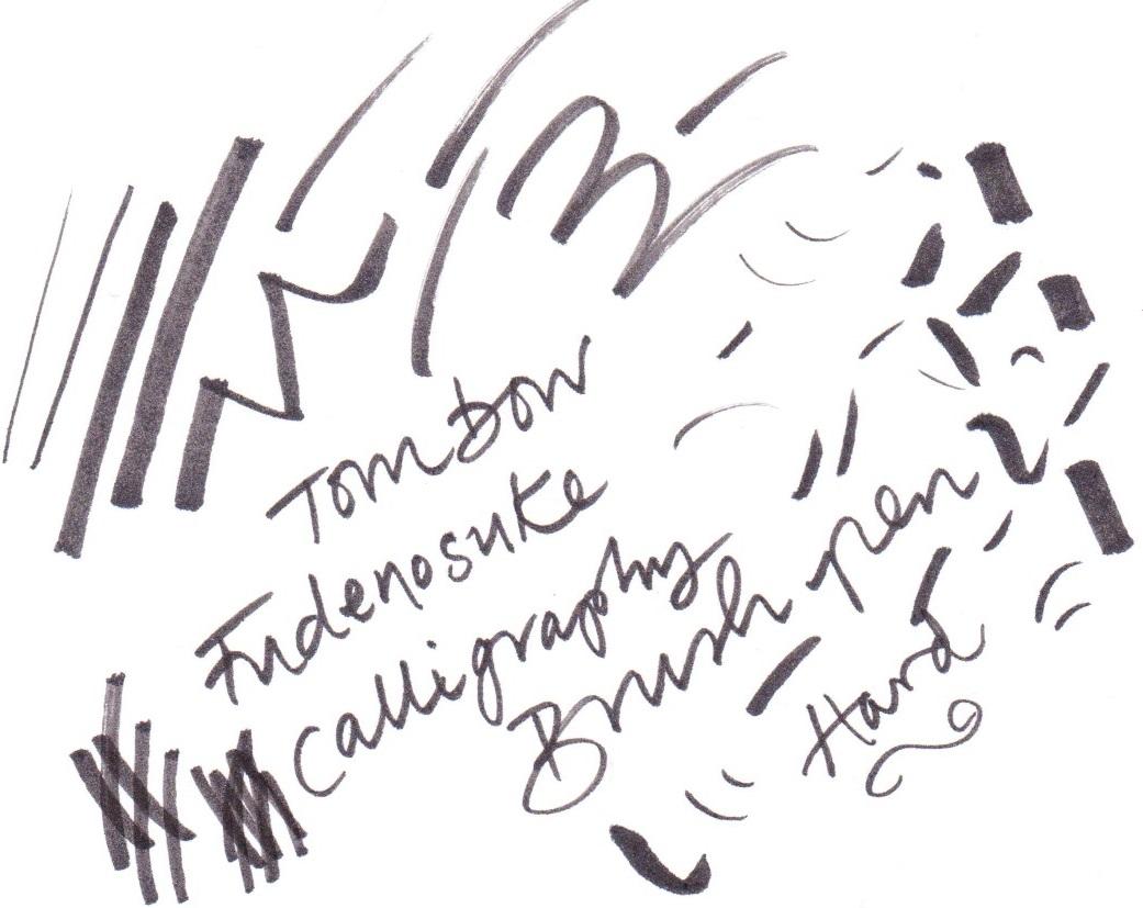 Tombow Fudenosuke Calligraphy Brush Pen hard nib on Bristol board
