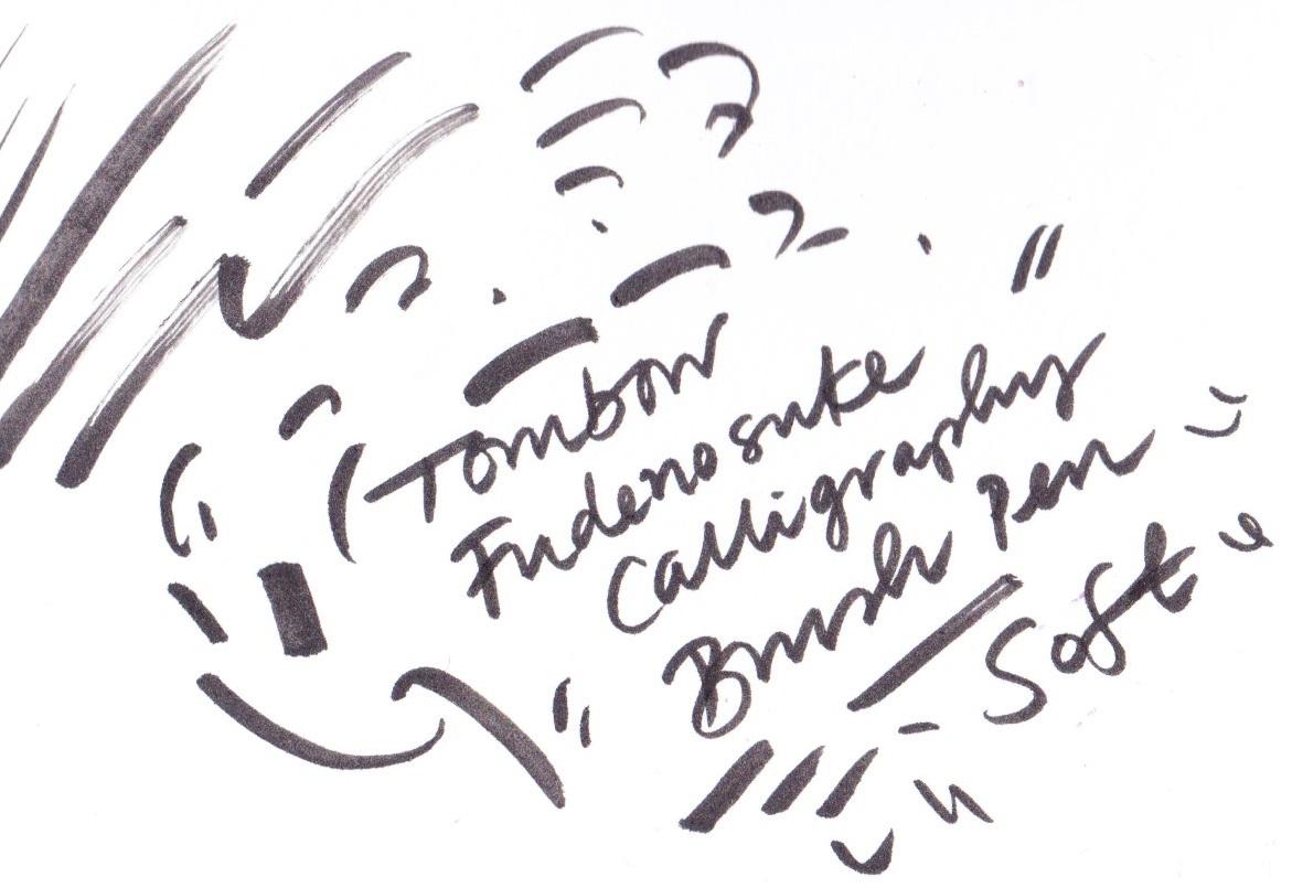 Tombow Fudenosuke Calligraphy Brush Pen oft nib on Bristol board