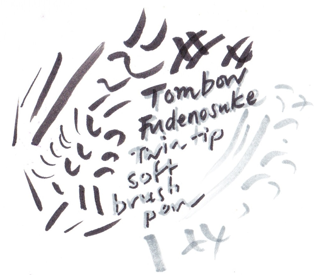 Tombow Fudenosuke Twin tip soft brush pen on Bristol board