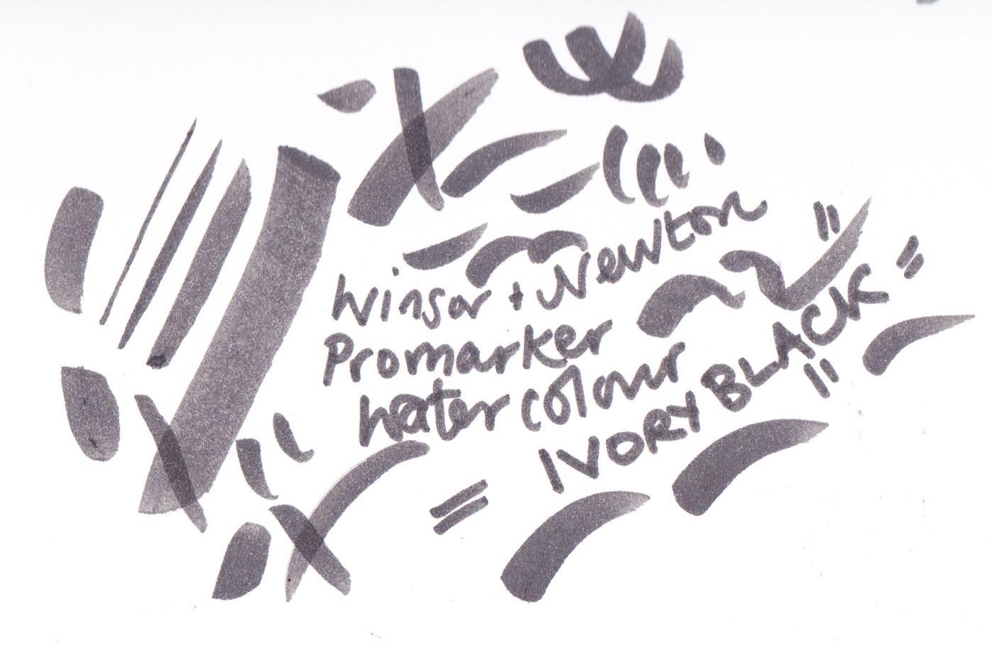 Winsor and Newton Promarker Watercolour Ivory Black on Bristol board
