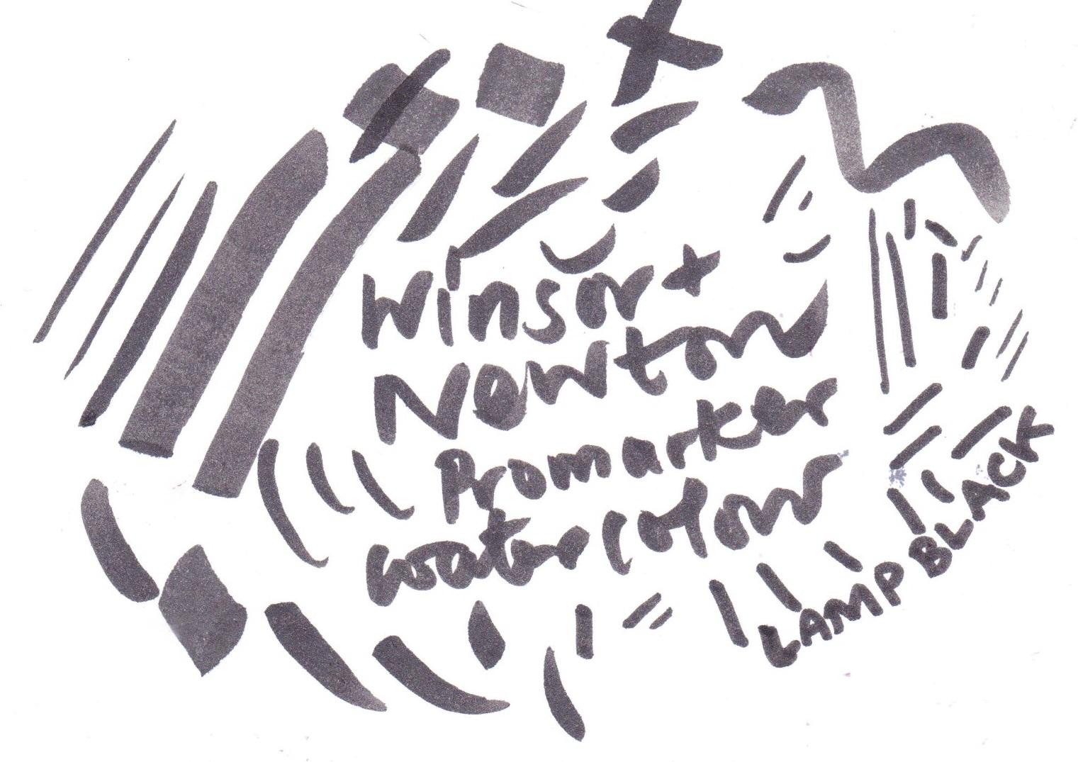 Winsor and Newton Promarker Watercolour Lamp Black on Bristol board