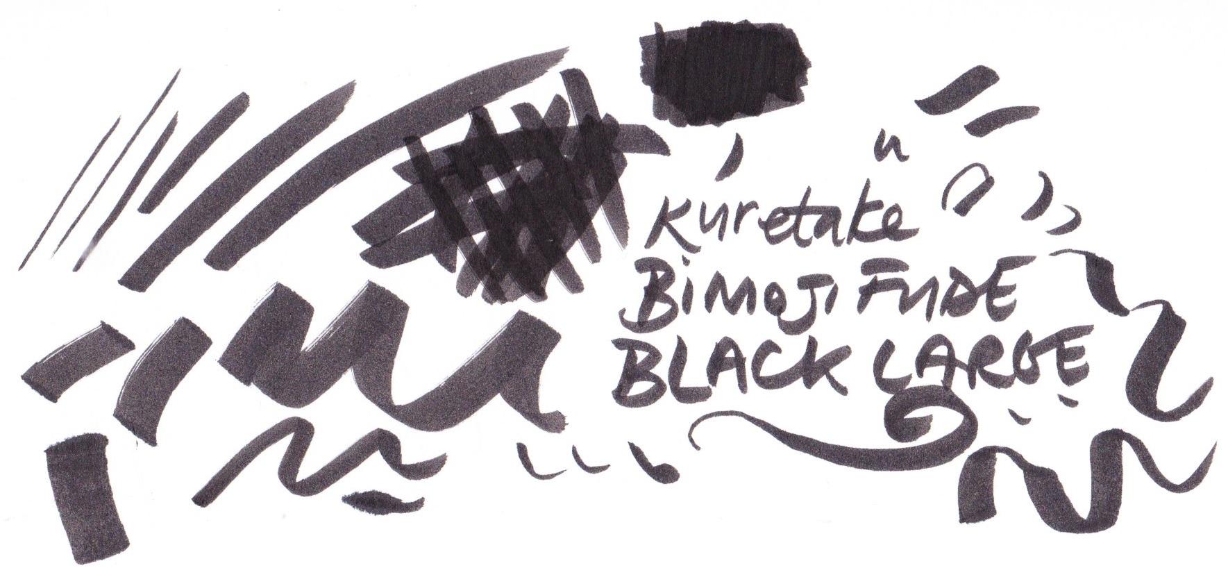 Kuretake Bimoji Fude large black pen on Bristol board