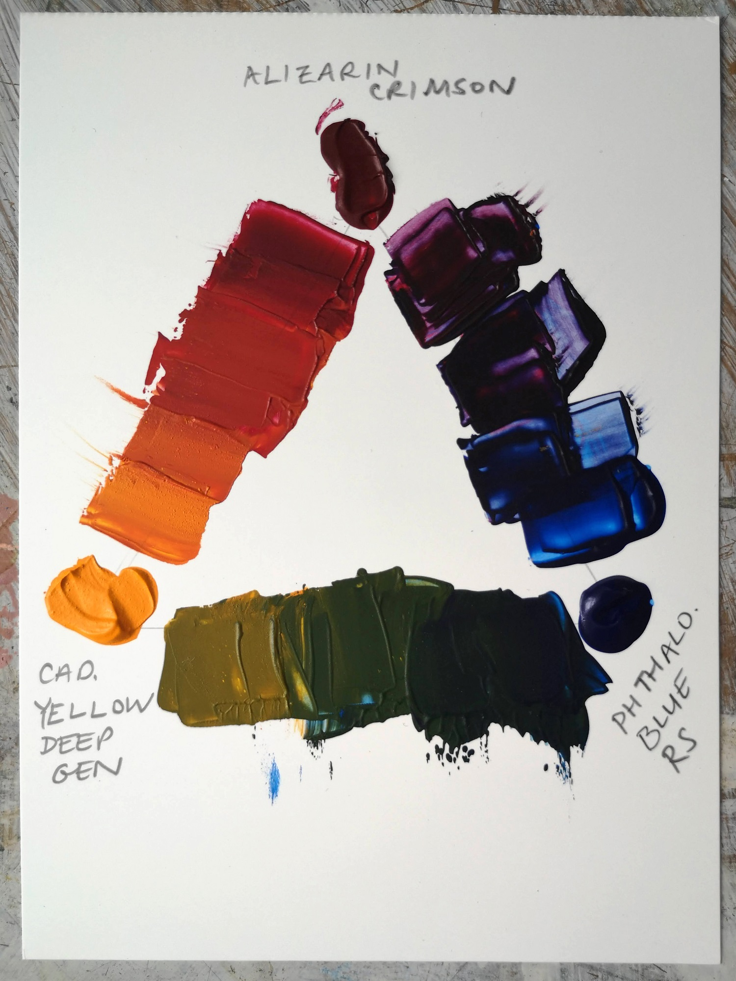 Colour mixing with Alizarin Crimson, Phthalo Blue Red Shade and Cadmium Yellow Deep Genuine