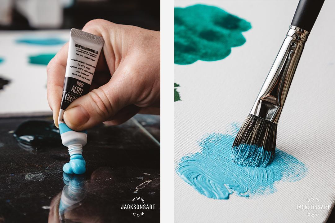 Acrylic gouache: soft body acrylic that dries matte