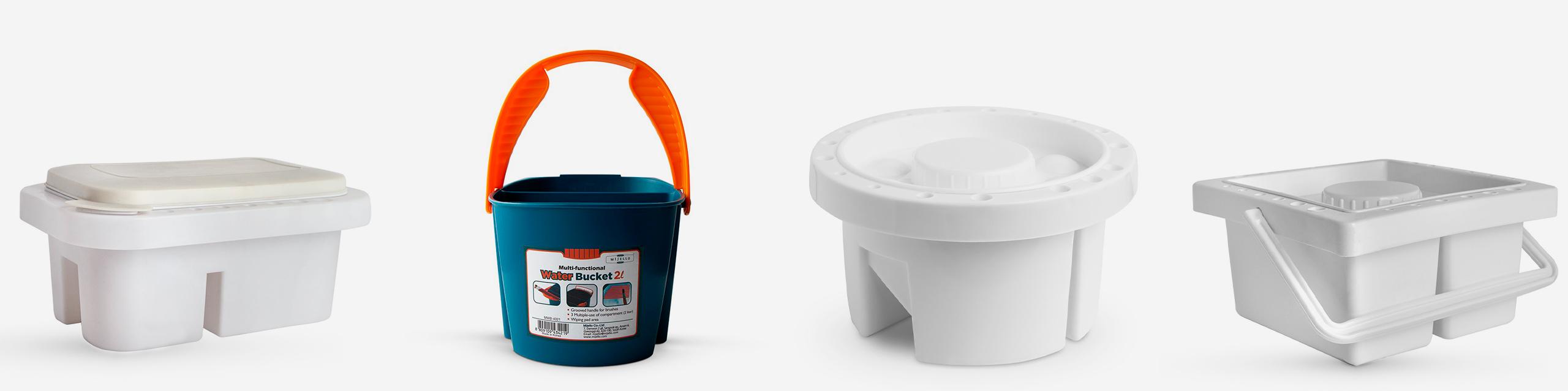 L-R: Plastic Brush Washer with Palette Cover, Mijello Bucket Brush Washer, Studio Essentials Brush pot & Reservoir, Studio Essentials Plastic Brush Washer and Water Pot