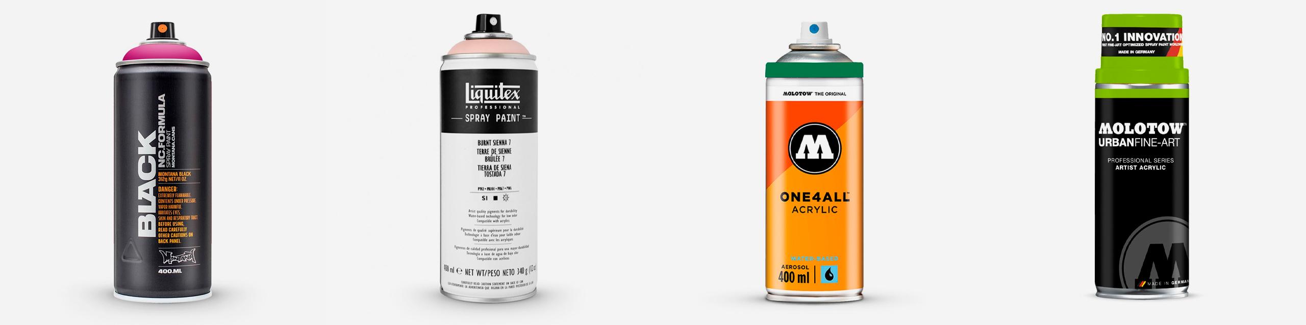 L-R: Montana Black Spray Paint, Liquitex Professional Acrylic Spray Paint, Molotow One4All Acrylic Spray Paint, Molotow Urban Fine Art Artist Acrylic Spray Paint