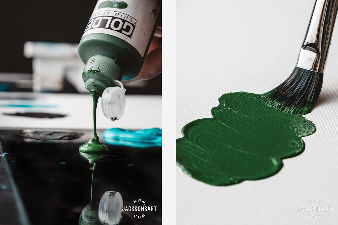 Fluid paint: blended techniques, pour painting, medium thickness painting techniques