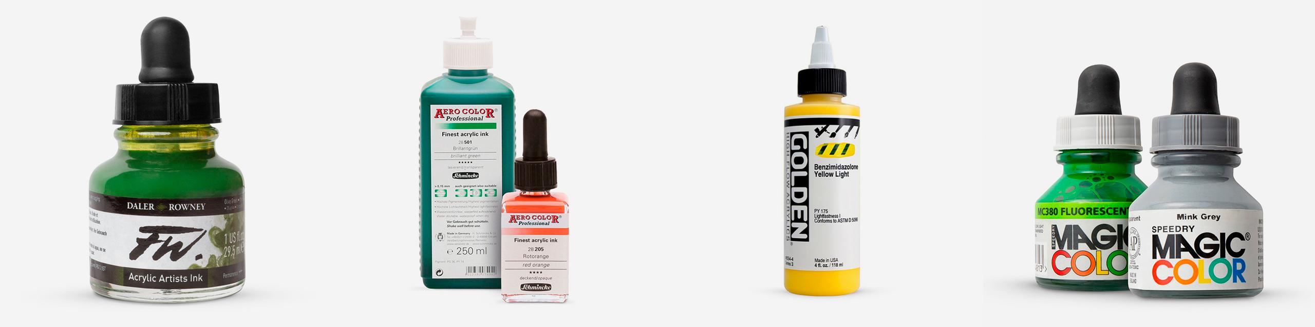 L-R: Daler Rowney FW Ink, Schmincke Aero Color Finest Acrylic Ink, GOLDEN High Flow Acrylic Paint, Speedry Magic Color Acrylic Ink