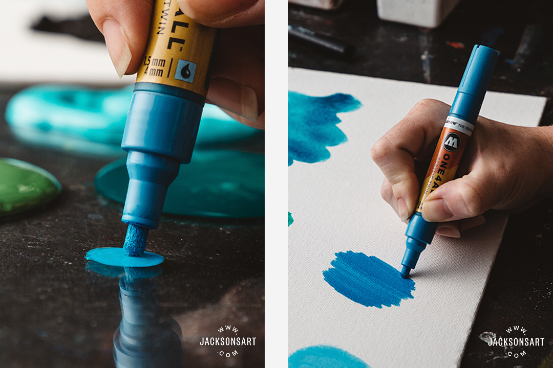 Acrylic marker pens: Graphic/ drawing based square edged marks