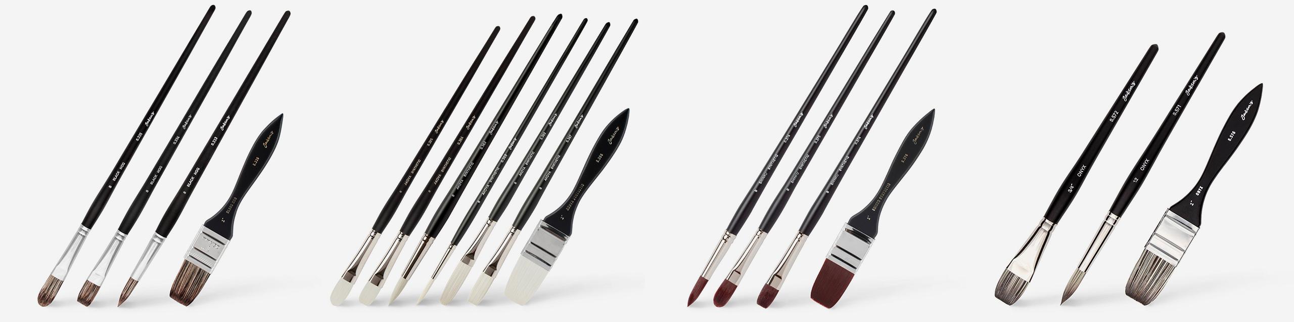 L-R: Jackson's Black Hog brushes, Jackson's Akoya Synthetic brushes, Jackson's Shinky Synthetic brushes, Jackson's Onyx brushes