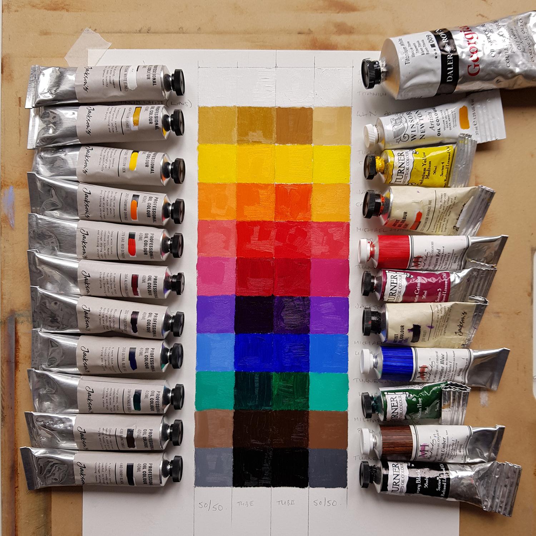 Judith Booth Paint Comparison chart Jackson's versus usual palette