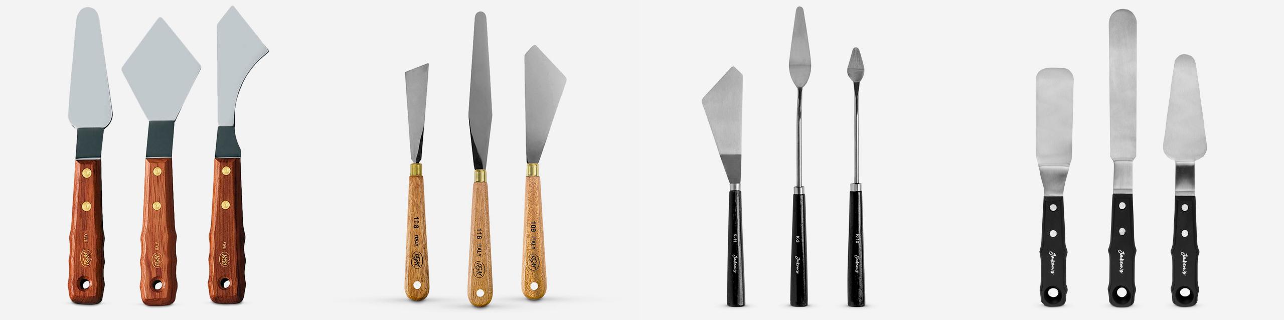 L-R: RGM Extra Large Palette Knives, RGM Palette Knives, Jackson's Extra Offset Crank Painting knives, Jackson's XXL Painting knives