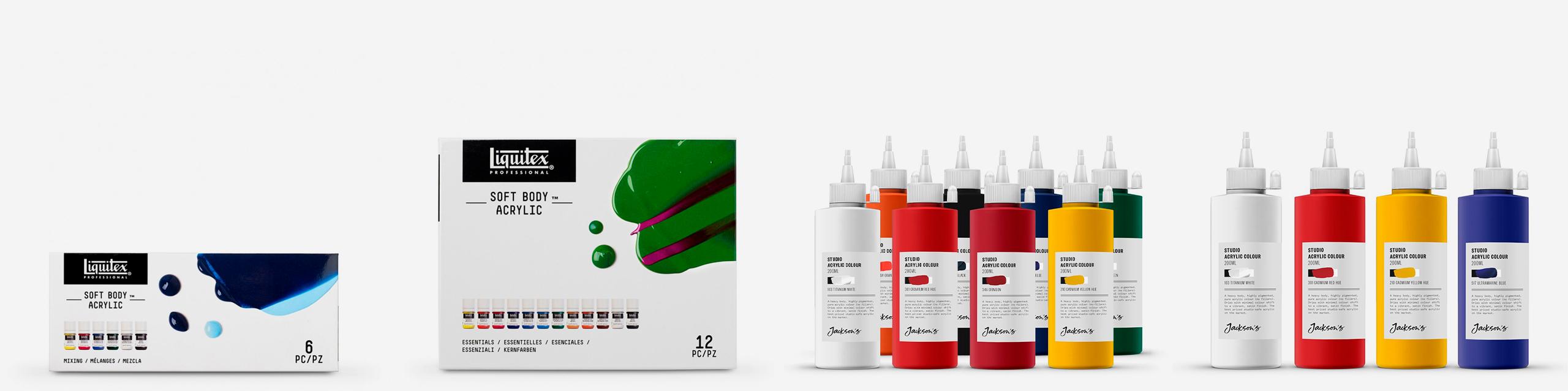 L-R: Liquitex Soft Body Mixing set of 6, Liquitex Soft Body Essentials set of 12, Jackson's Studio Acrylic set of 8, Jackson's Studio Acrylic set of 4