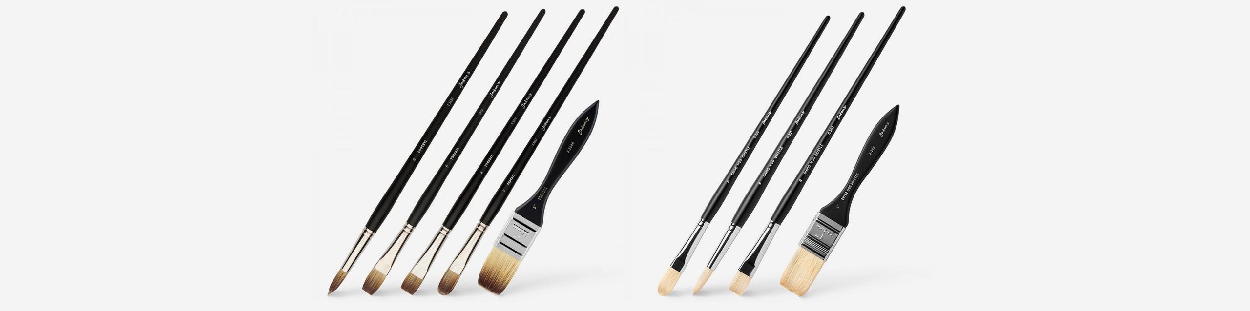L-R: Jackson's procryl brushes, Shiro hog brushes