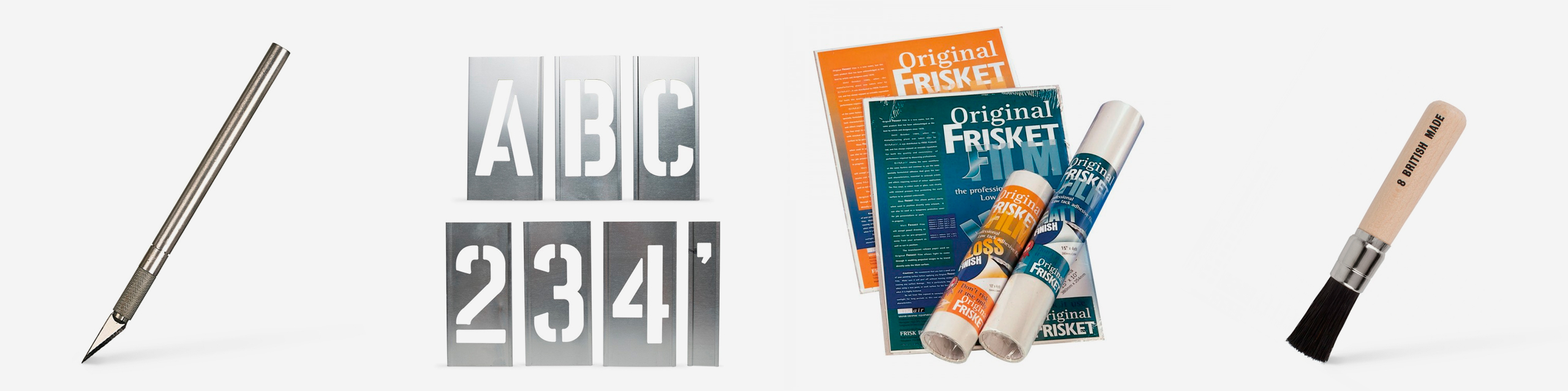 L-R: Jakar Hobby Knife, Handover Lettering Metal Stencils, Frisket Film, Handover Black Bristle Stencil Brush
