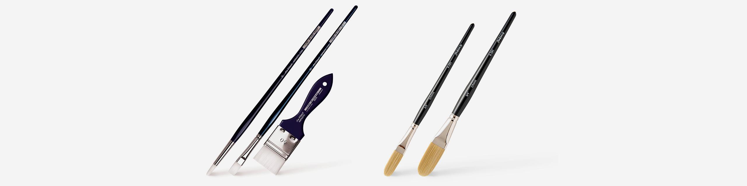 L-R: Da Vinci Impasto brushes, Jackson's Crane brushes