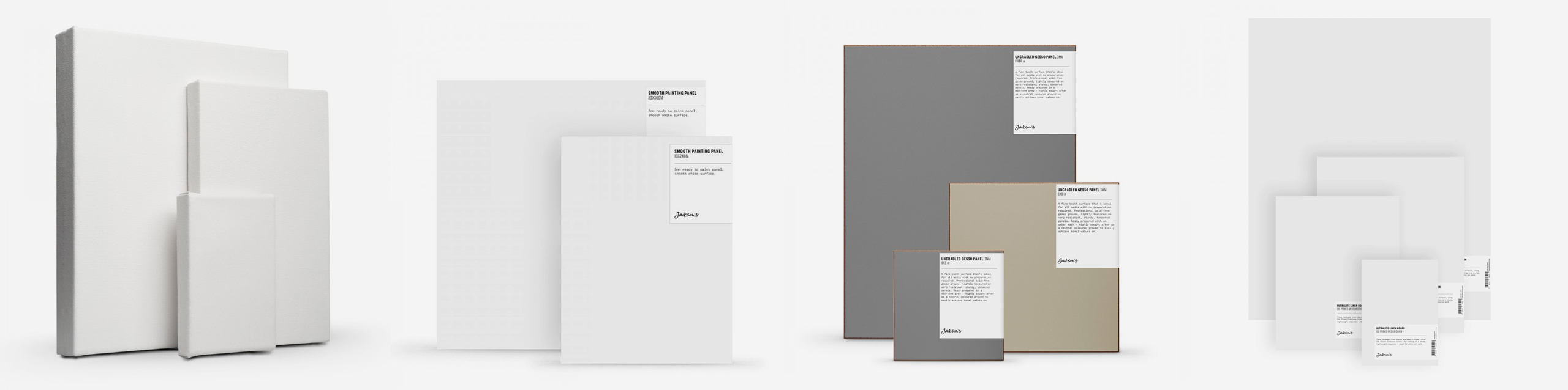 L-R: Jackson's Premium Stretched Cotton Canvas, Jackson's Smooth Painting Panel, Jackson's Uncradled Gesso Panel in Umber/Grey, Jackson's Ultralite Linen Boards