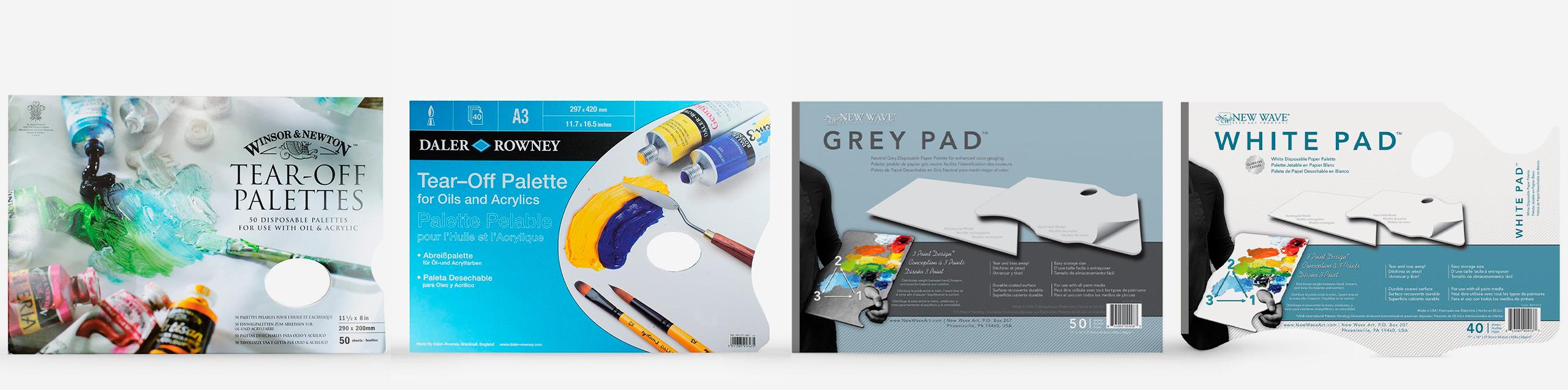 Tear Off Palettes L-R: Winsor & Newton Tear Off Palette, Daler Rowney Tear Off Palette, New Wave Grey Tear Off Palette, New Wave White Tear Off Palette