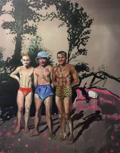'Summer ready', Adam Baker, Oil Paint, Oil sticks and spray paint on canvas, 150 x 120 x 4 cm