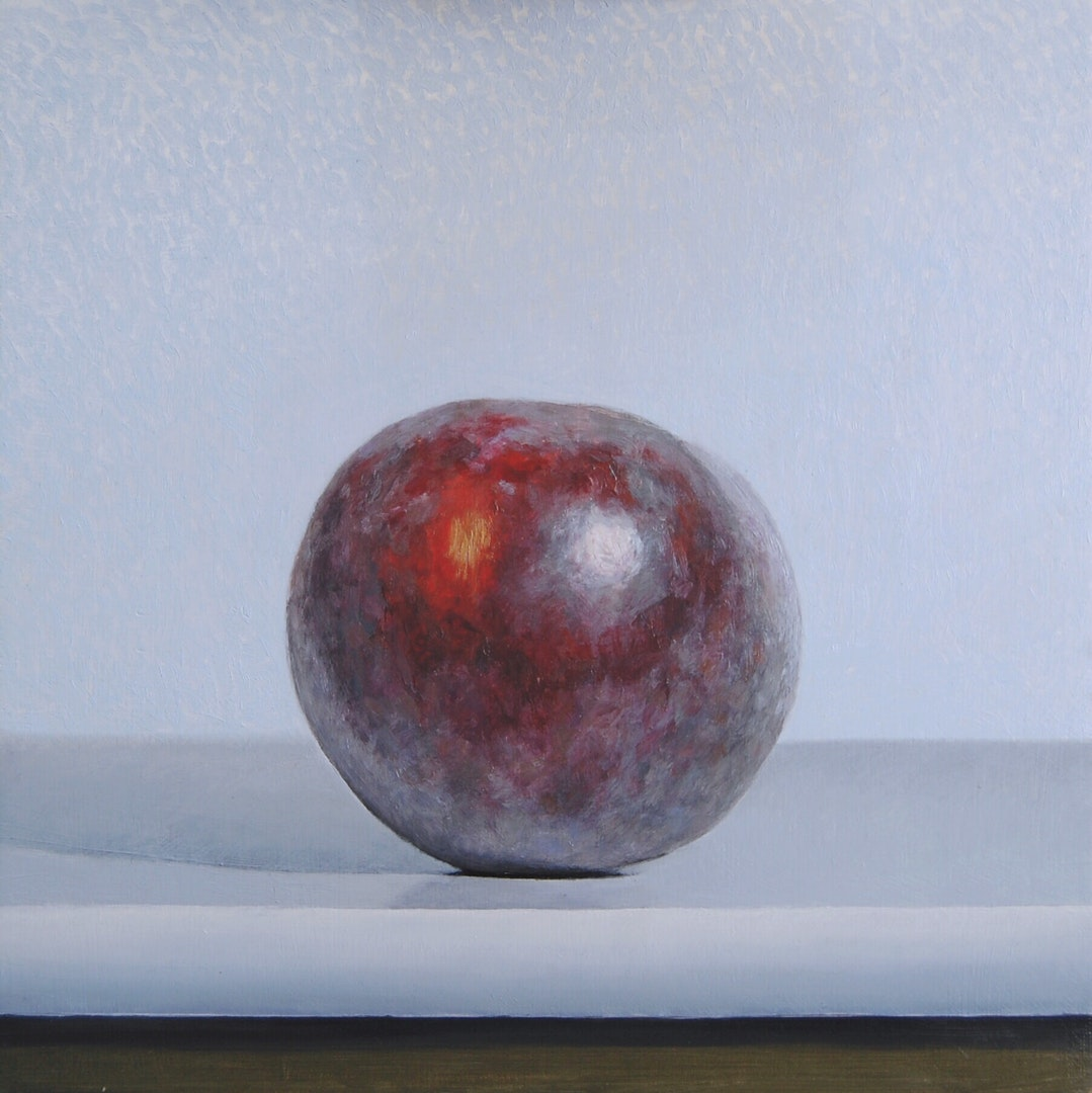'Plum', Andrew Thompson,  Oil on Aluminium, 20 x 20 cm