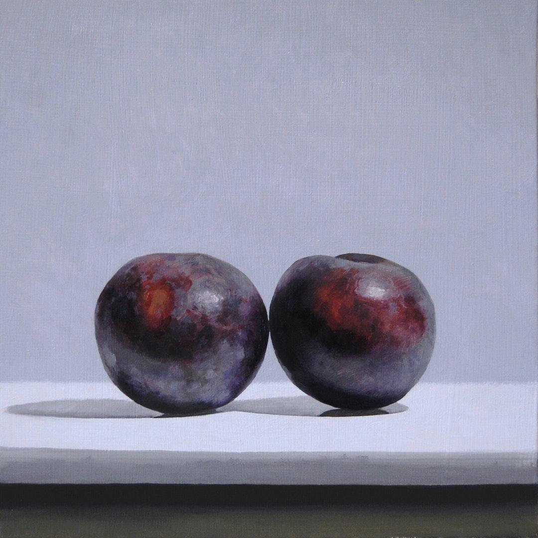 'Plums', Andrew Thompson,  Oil on Aluminium, 25 x 25 cm
